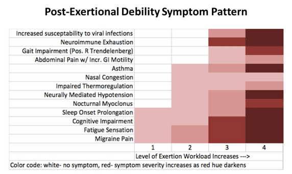 Caption: Dr. Larry Baldwin submitted this chart detailing his PEM symptom pattern to the IOM committee.