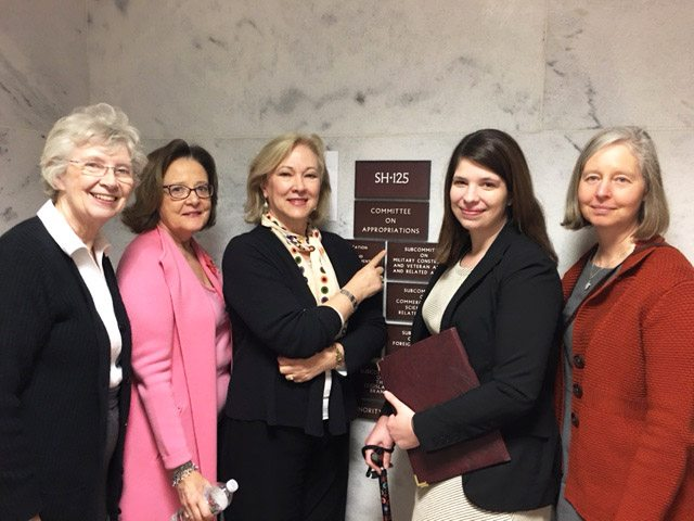 From Left: Charmian Proskauer, Chris Williams, Carol Head, Ashley Hultman and Leah Williams visit with Appropriations staff members.
