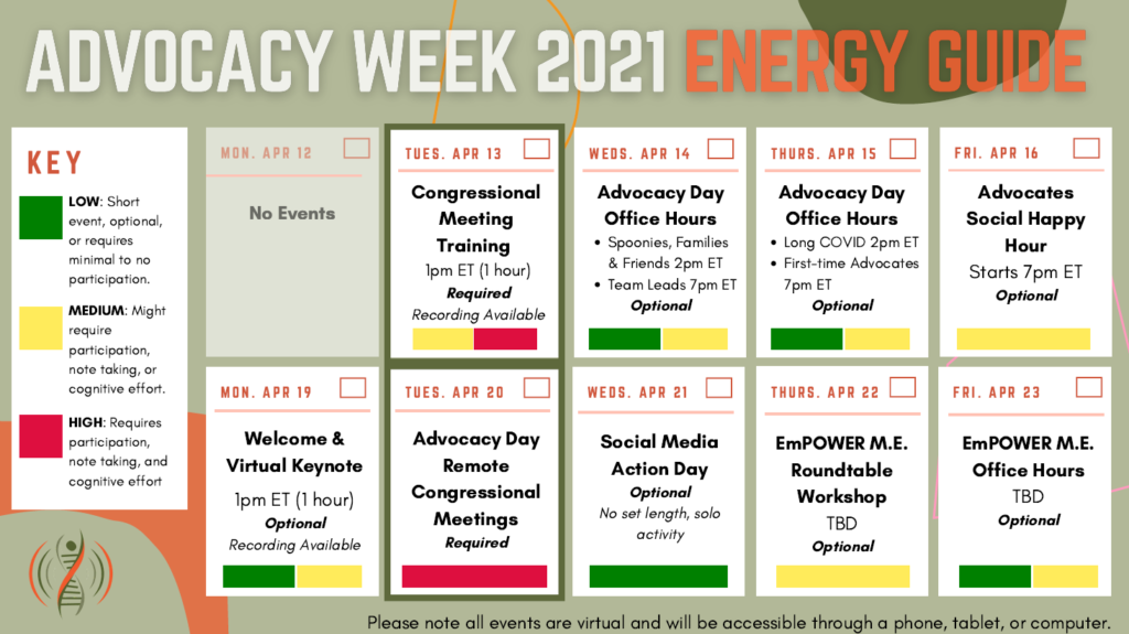Energy Guide: Congressional Training (4/13): medium to high energy and recording available. Advocacy Day Office Hours (4/14 and 4/15): low to medium energy, optional. Advocates Social Happy Hour (4/16): medium energy, optional. Welcome and Virtual Keynote (4/19): low to medium energy, optional and recording available. Advocacy Day (4/20): high energy. Social Media Action Day (4/21): low energy. EmPOWER ME Roundtable (4/22): medium energy, optional. EmPOWER ME Office Hours (4/23): low to medium energy, optional
